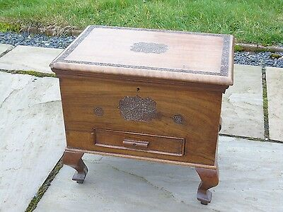 Vintage Sewing Box with Carved Detail