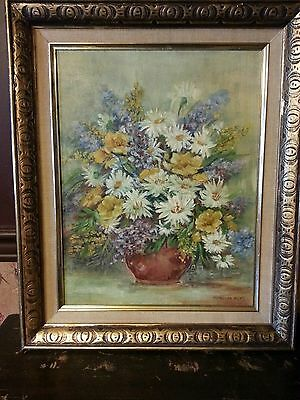Vintage Marinda Pitts, Still Life Original Oil Painting Bouquet/Floral Listed