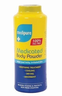 6 Medipure Medicated Body Powder 100% Talc free - 6 x 200g - Soothing Treatment