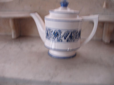 """Blue and White Teapot with Lid - 7"""" Tall"""