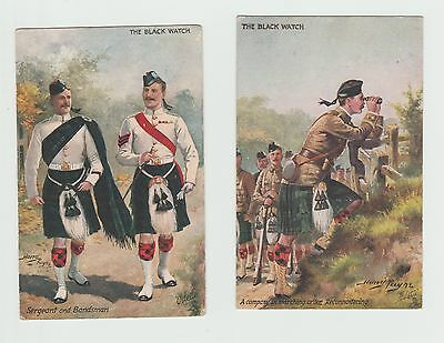 2 EARLY TUCKS ARTIST SIGNED POSTCARDS: HARRY PAYNE The Black Watch