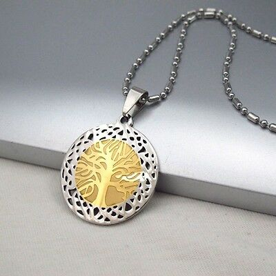Silver Gold Stainless Steel Tree Of Life Pendant Ethnic Tribal Necklace Chain