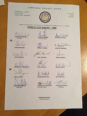 1999 Zimbabwe World Cup Squad fully signed x 18 on ZCU official Team sheet vgc