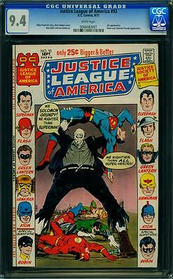 Justice League of America #92 CGC 9.4 Comic Book White Pages DC Solomon Grundy