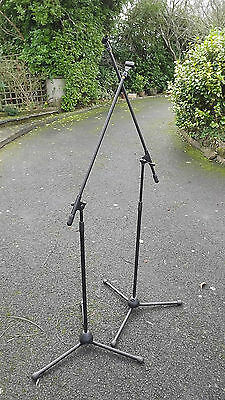 PAIR of HIGH QUALITY PROFESSIONAL MICROPHONE MIC STAND HOLDERS ADJUSTABLE BLACK