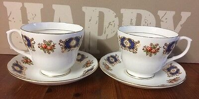 Two Beautiful H&M Royal Sutherland Large Teacups And Saucers