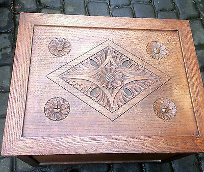 Old Wooden Carved Top Hinged Box / Chest