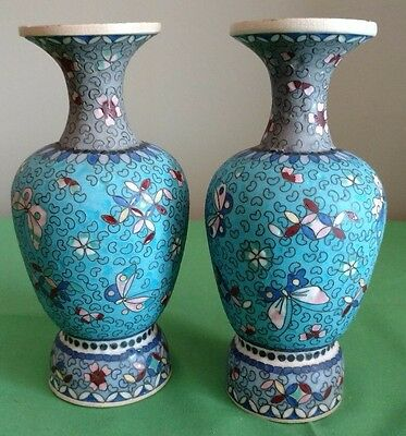 "Antique Pair of Totai Shippo Enameled Vases 6 & 1/4"" Tall"