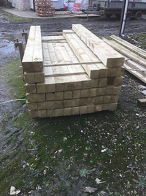 """Tanalised Timber Pressure Treated Fence Posts 4"""" x 4"""" x 8ft long"""