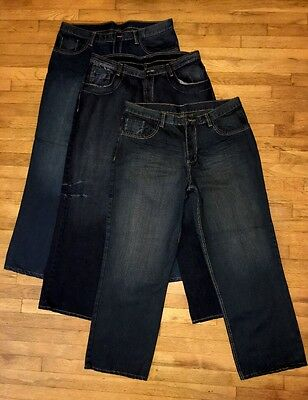 Lot Of 3 Mens Size 35X30 Unknown Brand Jeans 100% Cotton Dark Blue Jeans New!