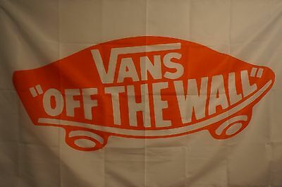 VANS OFF THE WALL White Red Skateboarding Flag Banner Man Cave Sports 3x5 Feet