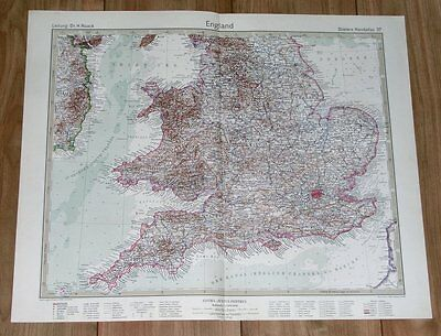 1932 Original Vintage Map Of England / London / Wales / Great Britain