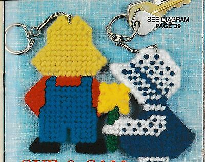 PLASTIC CANVAS PATTERN ONLY - Sunbonnet Sue and Sam Key Chains or Magnets