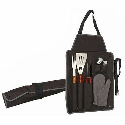 Barbecue Tool Set 7pc Grill Utensil Kit Yard Picnic BBQ Camping Cookware Cutlery