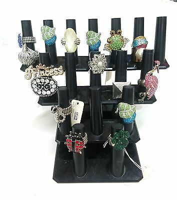 Used 17 FINGER DISPLAY BLACK Acrylic JEWELRY RING Counter Organizer STAND