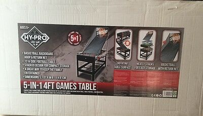 NEW Super Shooter 5-in-1 Basketball Pool Tennis Hockey & Football 4' Games Table