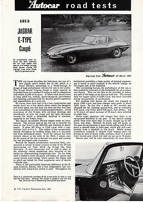 Jaguar E-Type Coupe, Autocar road test brochure from early 1960's