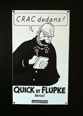 Neuf !! Herge * Plaque Emaillee Quick & Flupke Agent 15 * Emaillerie Belge