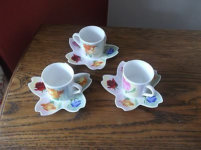 Coffee Set Of Three Cups And Saucers.