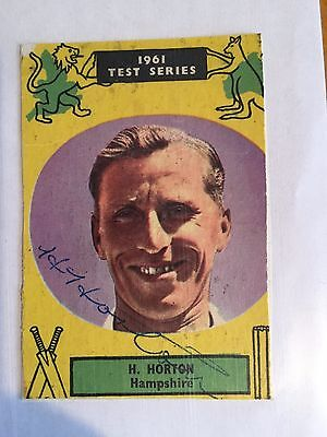 1961 M Horton Hampshire CCC signed 1961 Test Series Ashes Card