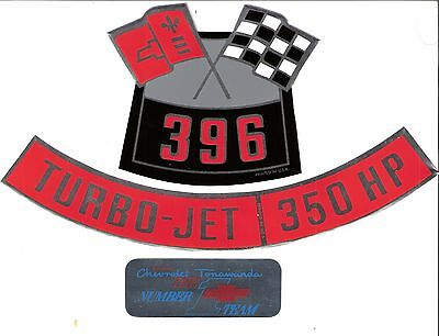 CHEVROLET 396 / 350 HP DECAL, Set of 3 CAMARO CHEVELLE