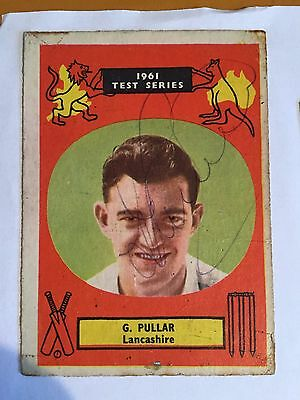 1961 G Pullar Lancashire & england signed 1961 Test Series Ashes Card
