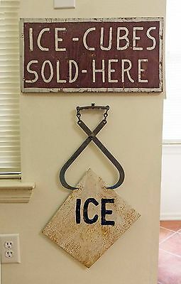 TWO ICE CUBE SIGNS Hand Painted Folk  Art Signs, c. 1930s