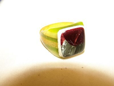 Antique Vintage Celluloid Many Colors Laminated  Prison Ring
