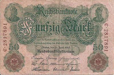 Fünzig Mark Vom 21. April 1910 - Reichsbanknote - Zirkuliert!!!
