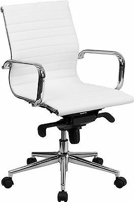 Eames Style Modern Low back Chair Ribbed PU leather with wheels arms Arm Rest...