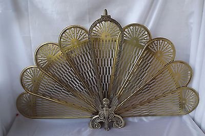 reproduction brass peacock fire screen