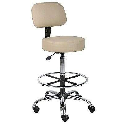 Caressoft Medical/Drafting Stool with Back Cushion Biege