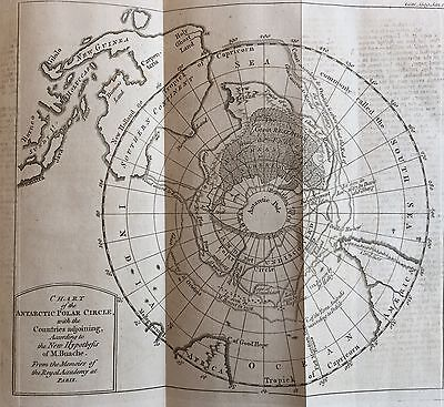 1763 newspaper EARLY PRINTING larg MAP ANTARCTICA South Pole CAPE HORN Good Hope