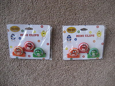 M&m's- 2 Packs Of M&m Mini Magnet Chip Clips-   Brand New/never Used