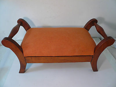 Early Antique Vintage Wooden Foot Stool Doll Chair 18""