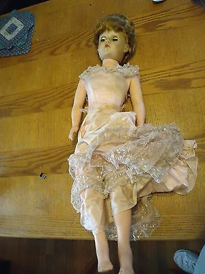 Vintage Rubber 30 Inch Short Hair  Doll In Dress