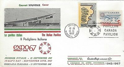 1967 EXPO'67 - Italy's Day FDC with Canadian Pacific Airlines & Pavillion cachet