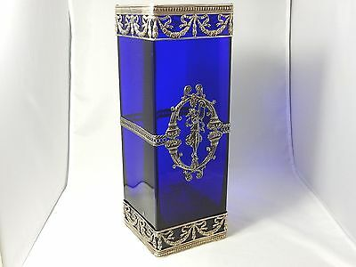 """Very rare blue glass and sterling revival style large vase ! 11 3/4"""""""