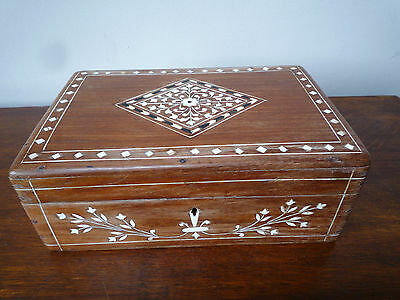 Vintage Indian inlaid wooden sewing box with key
