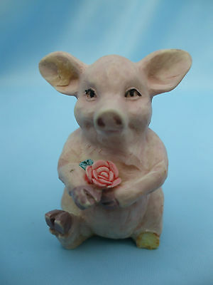Collectable Pink Pig Ornament with Flowers