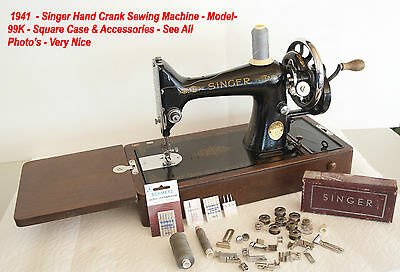 Vintage 1941- Singer Hand Crank Sewing Machine 99K Square Case  & Accessories