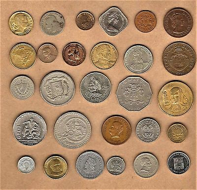 South/Central America w/Caribbean 25+ coin lot w/ 1870 Brasil 10 Reis at E.F.