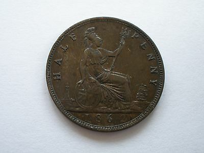 1862 Queen Victoria Halfpenny - Nef - Uk Post Free
