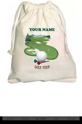 Personalised - Golf Tees Bag - Tiny Natural Cotton Drawstring Bag