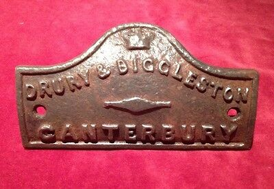 Drury & Biggleston Cast Iron Foundry Name Plate (S.E.Rly)