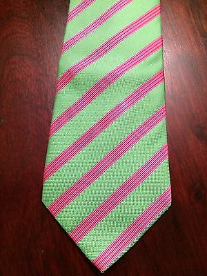 Mens Profuomo Pure Silk Lime Green and Pink striped Tie