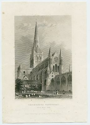 Antique Print Of Chichester Cathedral, South East View, 1836