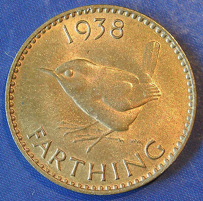 1938 ¼d George VI bronze Farthing - aUNC, lustrous and lovely