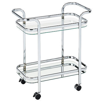 """Zedd"" Collection 2-Tier Trolley Bar Serving Cart with Wheels in Chrome 556-218"