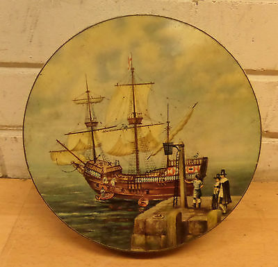 Vintage 1957 Huntley & Palmers Mayflower Commemorative Tin - Good Condition